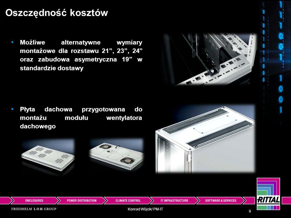 Konrad Wójcik/ PM-IT Oszczędność kosztów Wyciągane półki urządzeń już tylko jeden numer katalogowy 10 W całości błyskawiczna technika szybkiego montażu dla akcesoriów Redukcja kompleksowości dzięki połączeniu funkcji (zawsze głębokość 400-600 i 600-900)
