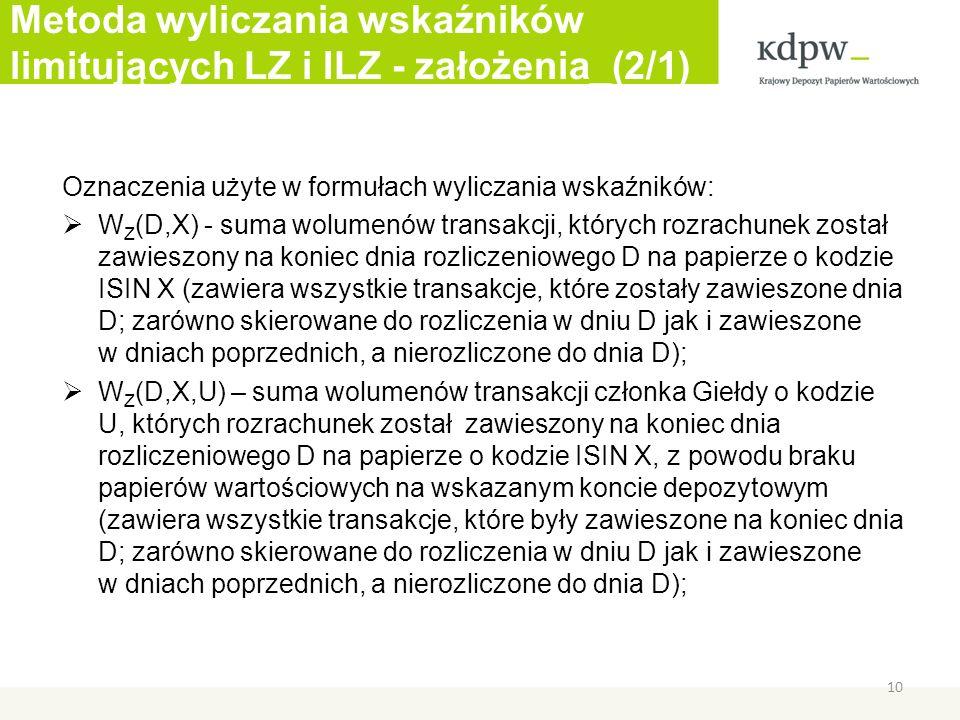 Metoda wyliczania wskaźników limitujących LZ i ILZ - założenia_(2/1) Oznaczenia użyte w formułach wyliczania wskaźników: W Z (D,X) - suma wolumenów transakcji, których rozrachunek został zawieszony na koniec dnia rozliczeniowego D na papierze o kodzie ISIN X (zawiera wszystkie transakcje, które zostały zawieszone dnia D; zarówno skierowane do rozliczenia w dniu D jak i zawieszone w dniach poprzednich, a nierozliczone do dnia D); W Z (D,X,U) – suma wolumenów transakcji członka Giełdy o kodzie U, których rozrachunek został zawieszony na koniec dnia rozliczeniowego D na papierze o kodzie ISIN X, z powodu braku papierów wartościowych na wskazanym koncie depozytowym (zawiera wszystkie transakcje, które były zawieszone na koniec dnia D; zarówno skierowane do rozliczenia w dniu D jak i zawieszone w dniach poprzednich, a nierozliczone do dnia D); 10
