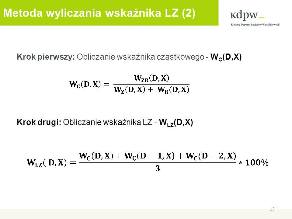 Metoda wyliczania wskaźnika LZ (2) Krok pierwszy: Obliczanie wskaźnika cząstkowego - W C (D,X) Krok drugi: Obliczanie wskaźnika LZ - W LZ (D,X) 13