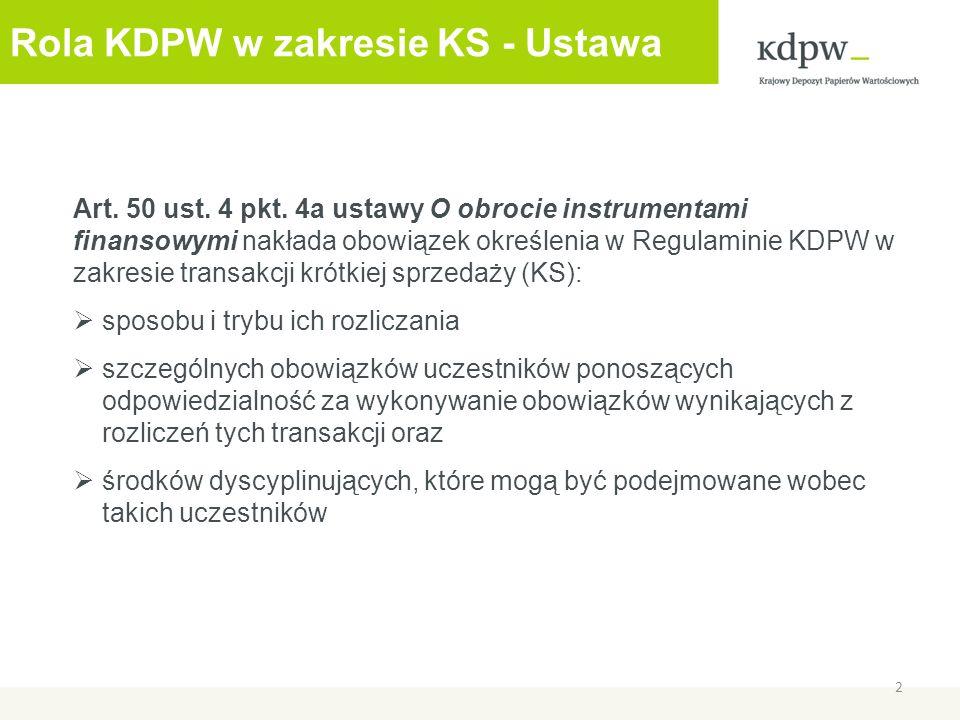Rola KDPW w zakresie KS - Ustawa Art. 50 ust. 4 pkt.