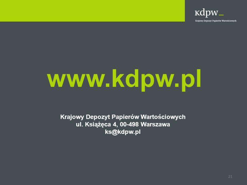 www.kdpw.pl Krajowy Depozyt Papierów Wartościowych ul. Książęca 4, 00-498 Warszawa ks@kdpw.pl 21