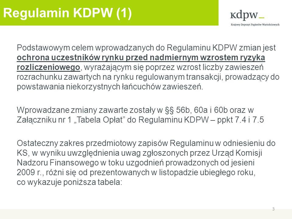 Regulamin KDPW (1) Podstawowym celem wprowadzanych do Regulaminu KDPW zmian jest ochrona uczestników rynku przed nadmiernym wzrostem ryzyka rozliczeniowego, wyrażającym się poprzez wzrost liczby zawieszeń rozrachunku zawartych na rynku regulowanym transakcji, prowadzący do powstawania niekorzystnych łańcuchów zawieszeń.