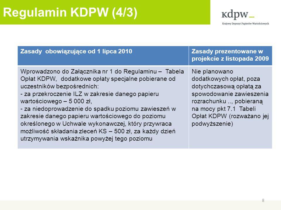 Regulamin KDPW (4/3) 8 Zasady obowiązujące od 1 lipca 2010Zasady prezentowane w projekcie z listopada 2009 Wprowadzono do Załącznika nr 1 do Regulaminu – Tabela Opłat KDPW, dodatkowe opłaty specjalne pobierane od uczestników bezpośrednich: - za przekroczenie ILZ w zakresie danego papieru wartościowego – 5 000 zł, - za niedoprowadzenie do spadku poziomu zawieszeń w zakresie danego papieru wartościowego do poziomu określonego w Uchwale wykonawczej, który przywraca możliwość składania zleceń KS – 500 zł, za każdy dzień utrzymywania wskaźnika powyżej tego poziomu Nie planowano dodatkowych opłat, poza dotychczasową opłatą za spowodowanie zawieszenia rozrachunku.., pobieraną na mocy pkt 7.1 Tabeli Opłat KDPW (rozważano jej podwyższenie)