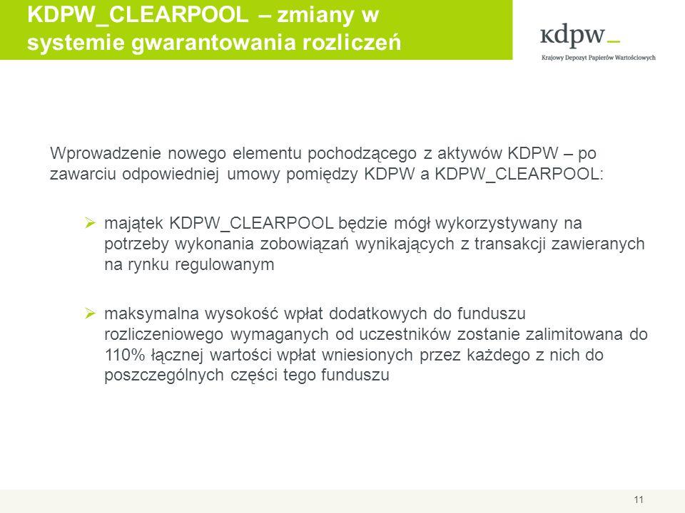 KDPW_CLEARPOOL – zmiany w systemie gwarantowania rozliczeń 11 Wprowadzenie nowego elementu pochodzącego z aktywów KDPW – po zawarciu odpowiedniej umow