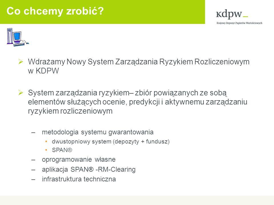 Co chcemy zrobić? Wdrażamy Nowy System Zarządzania Ryzykiem Rozliczeniowym w KDPW System zarządzania ryzykiem– zbiór powiązanych ze sobą elementów słu