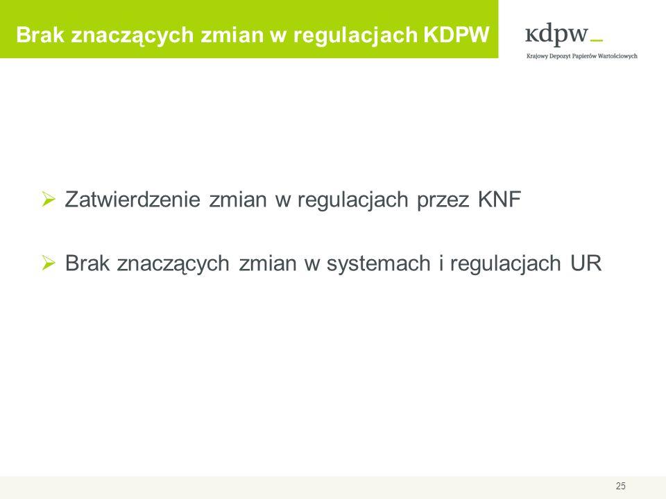 Brak znaczących zmian w regulacjach KDPW Zatwierdzenie zmian w regulacjach przez KNF Brak znaczących zmian w systemach i regulacjach UR 25