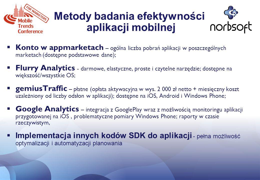 Metody badania efektywności aplikacji mobilnej Konto w appmarketach – ogólna liczba pobrań aplikacji w poszczególnych marketach (dostępne podstawowe d