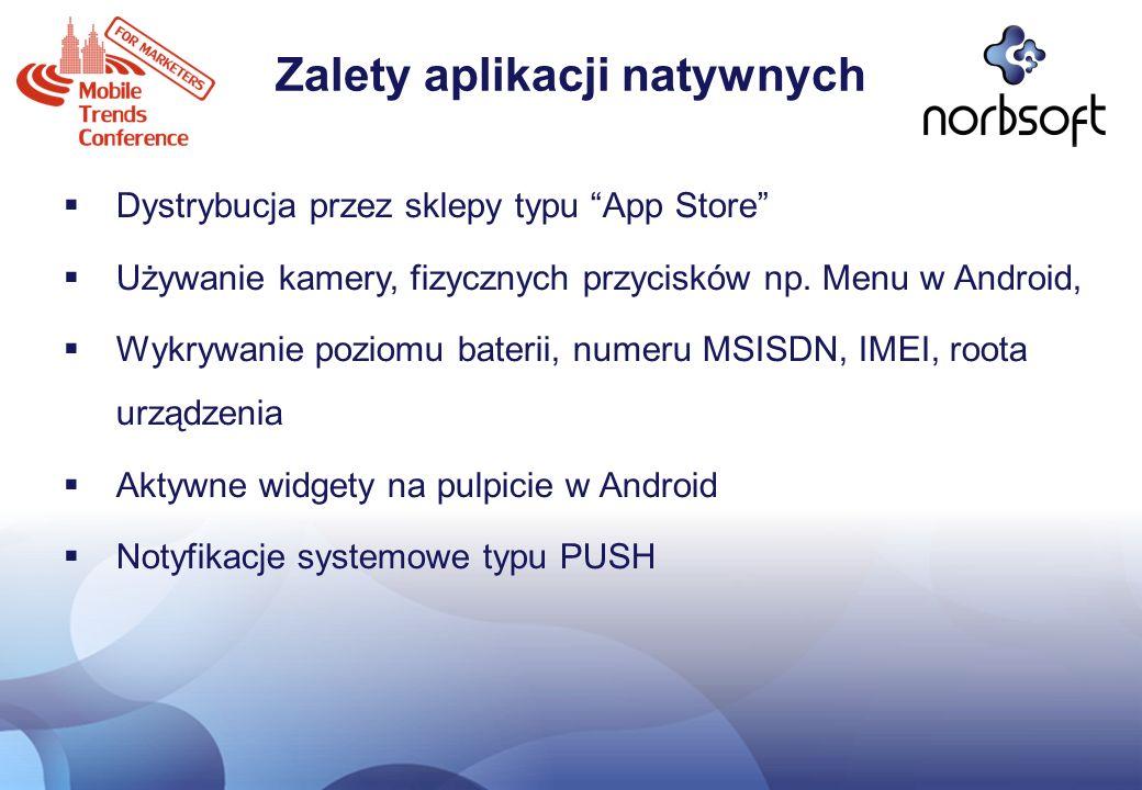 Zalety aplikacji natywnych Dystrybucja przez sklepy typu App Store Używanie kamery, fizycznych przycisków np. Menu w Android, Wykrywanie poziomu bater