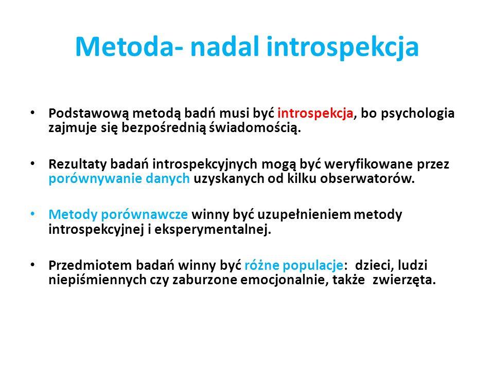 Podstawową metodą badń musi być introspekcja, bo psychologia zajmuje się bezpośrednią świadomością. Rezultaty badań introspekcyjnych mogą być weryfiko