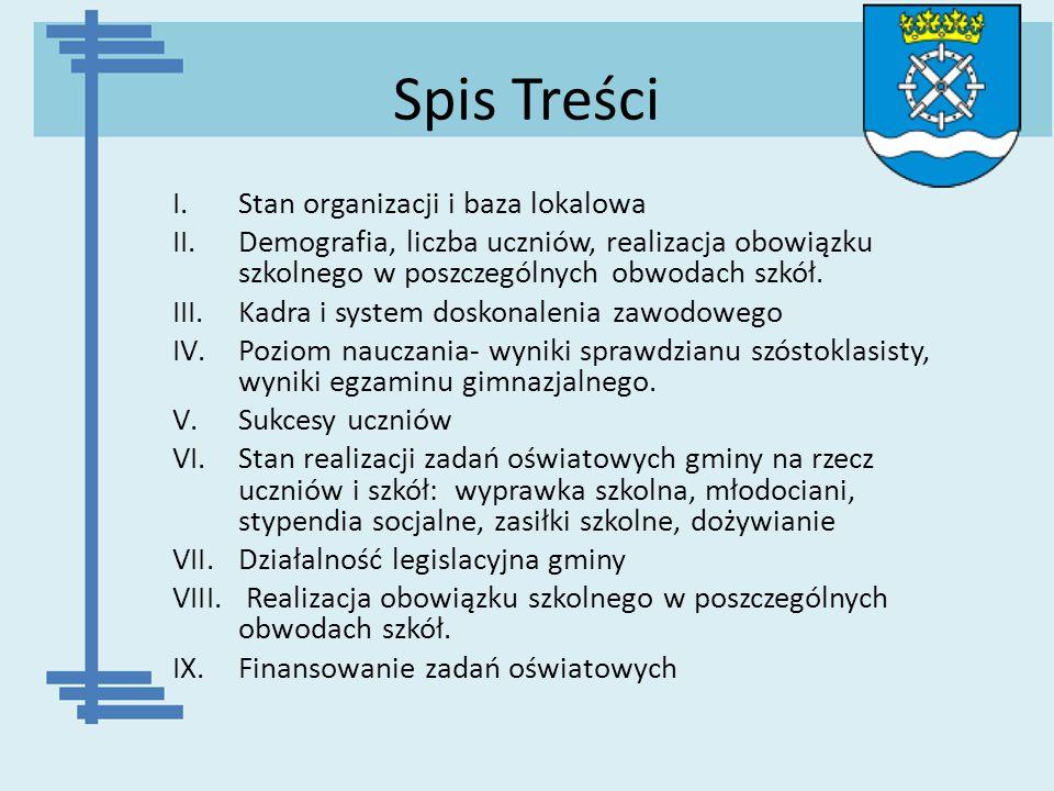 Spis Treści I.Stan organizacji i baza lokalowa II.Demografia, liczba uczniów, realizacja obowiązku szkolnego w poszczególnych obwodach szkół. III.Kadr