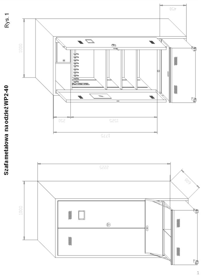 A lustro formatu A4 pionowo B 1000 1525 C 1775 250 D zamek szyfrowy mechaniczny o 1000 kombinacji 450 G 350 H F Szafa metalowa na odzież WP2-40 2 Rys.