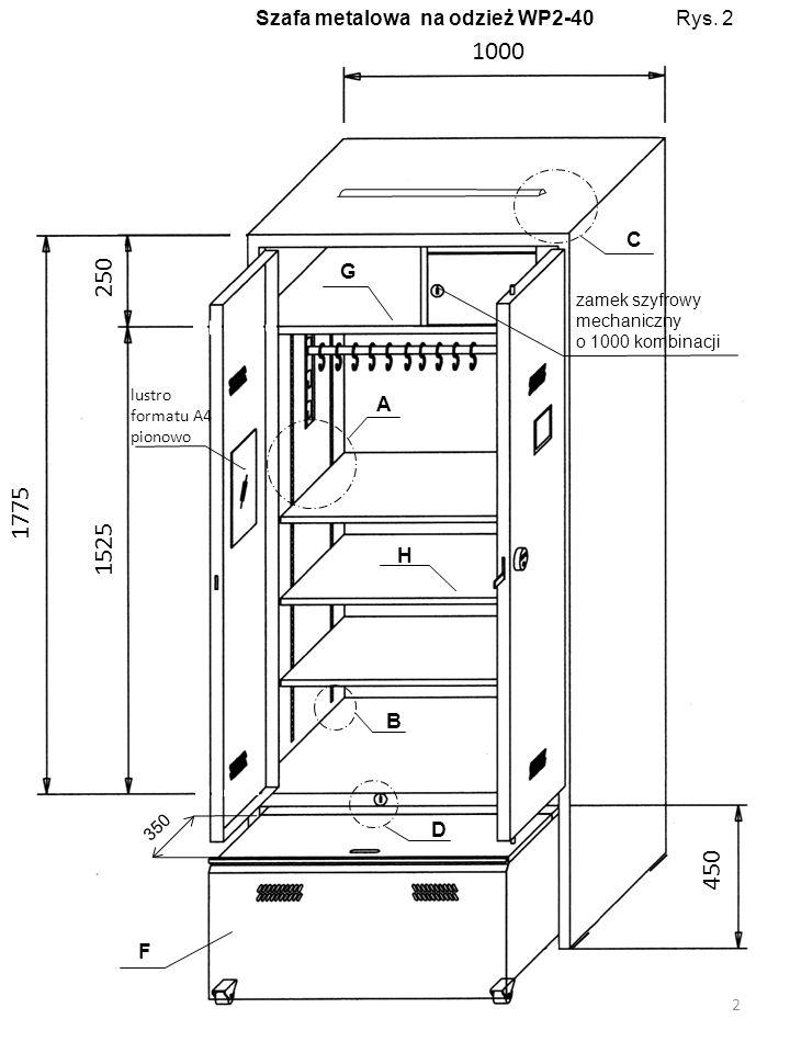 Pokrywa szuflady 13 Wnętrze szuflady
