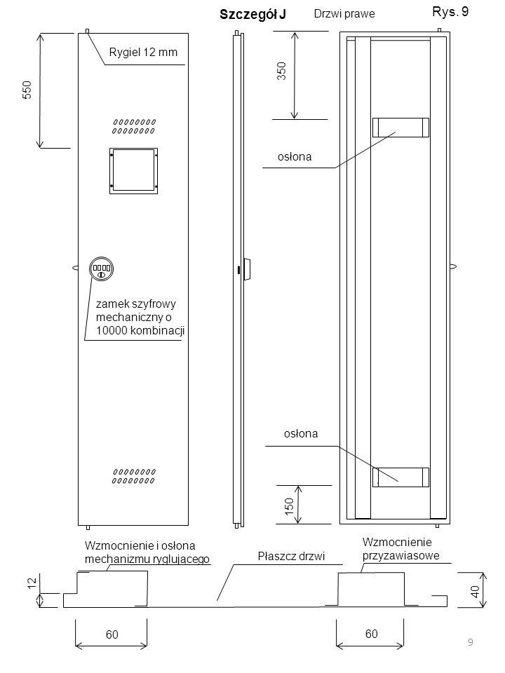 Drzwi prawe Wzmocnienie i osłona mechanizmu ryglującego Wzmocnienie przyzawiasowe Płaszcz drzwi 60 40 60 12 zamek szyfrowy mechaniczny o 10000 kombina