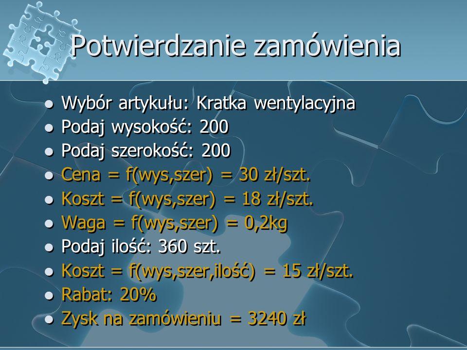 Potwierdzanie zamówienia Wybór artykułu: Kratka wentylacyjna Podaj wysokość: 200 Podaj szerokość: 200 Cena = f(wys,szer) = 30 zł/szt. Koszt = f(wys,sz