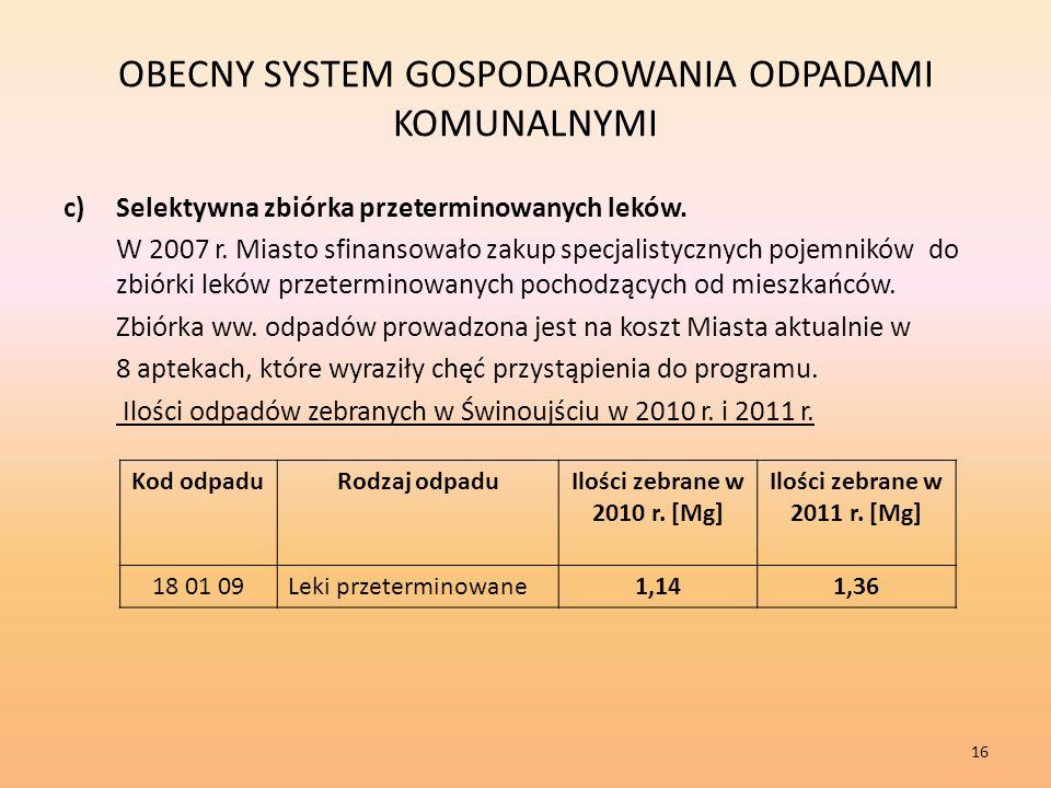 OBECNY SYSTEM GOSPODAROWANIA ODPADAMI KOMUNALNYMI c)Selektywna zbiórka przeterminowanych leków.