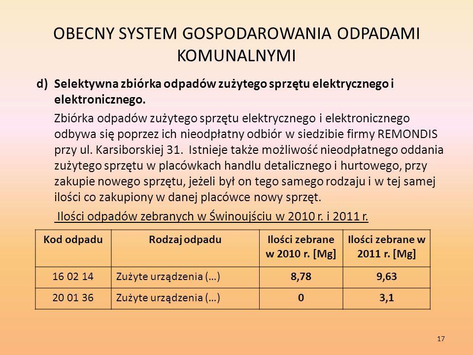 OBECNY SYSTEM GOSPODAROWANIA ODPADAMI KOMUNALNYMI d)Selektywna zbiórka odpadów zużytego sprzętu elektrycznego i elektronicznego.