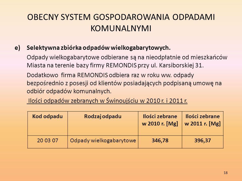 OBECNY SYSTEM GOSPODAROWANIA ODPADAMI KOMUNALNYMI e)Selektywna zbiórka odpadów wielkogabarytowych.