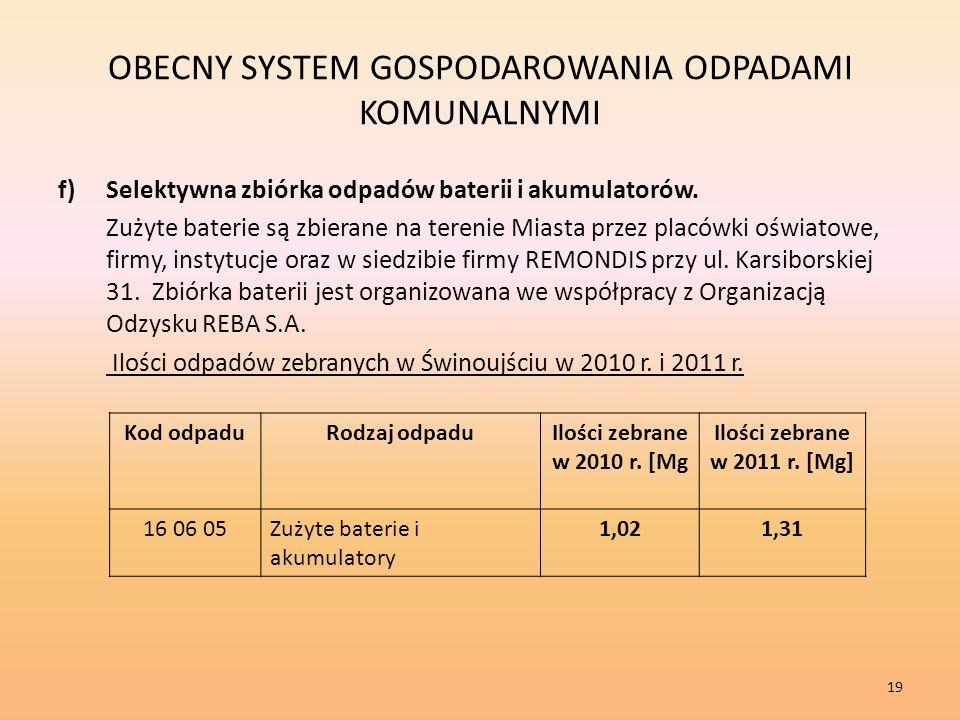 OBECNY SYSTEM GOSPODAROWANIA ODPADAMI KOMUNALNYMI f)Selektywna zbiórka odpadów baterii i akumulatorów.