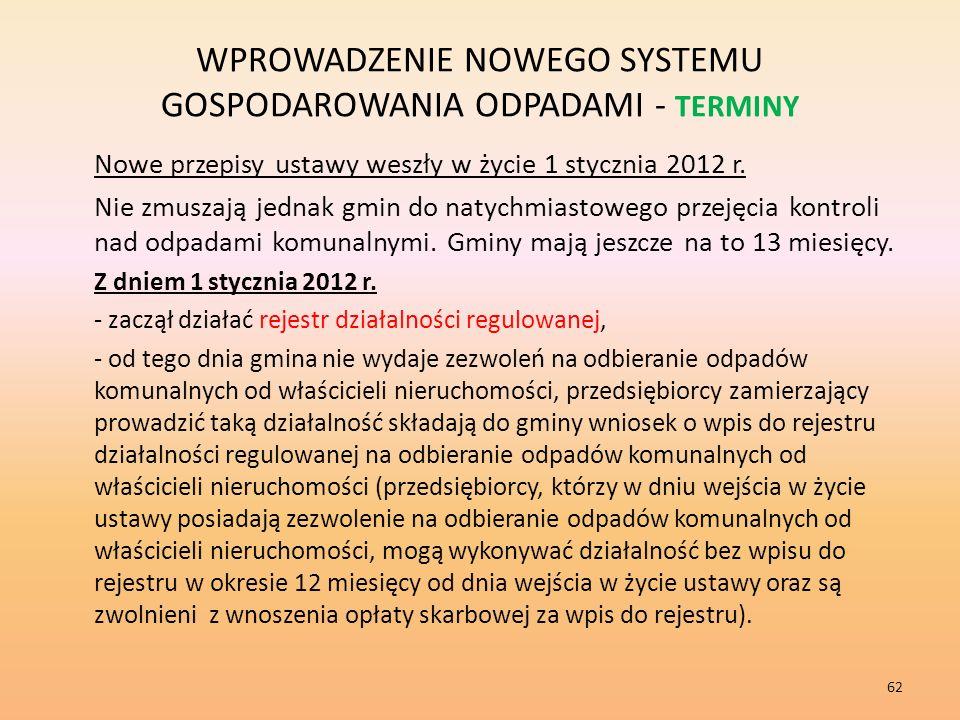 WPROWADZENIE NOWEGO SYSTEMU GOSPODAROWANIA ODPADAMI - TERMINY Nowe przepisy ustawy weszły w życie 1 stycznia 2012 r.