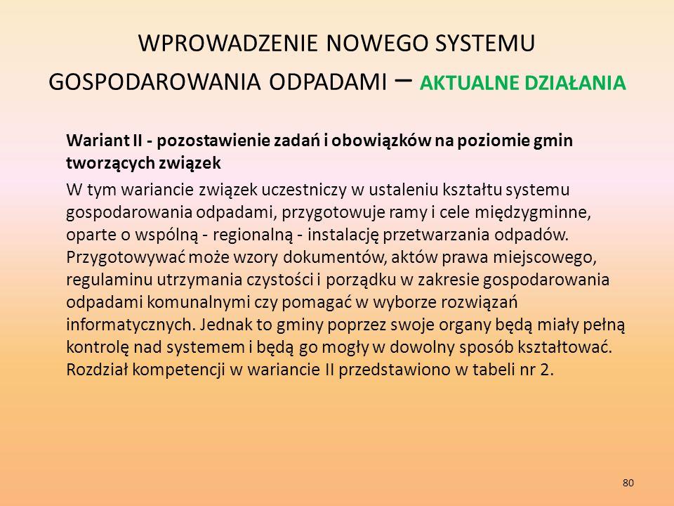 WPROWADZENIE NOWEGO SYSTEMU GOSPODAROWANIA ODPADAMI – AKTUALNE DZIAŁANIA Wariant II - pozostawienie zadań i obowiązków na poziomie gmin tworzących związek W tym wariancie związek uczestniczy w ustaleniu kształtu systemu gospodarowania odpadami, przygotowuje ramy i cele międzygminne, oparte o wspólną - regionalną - instalację przetwarzania odpadów.