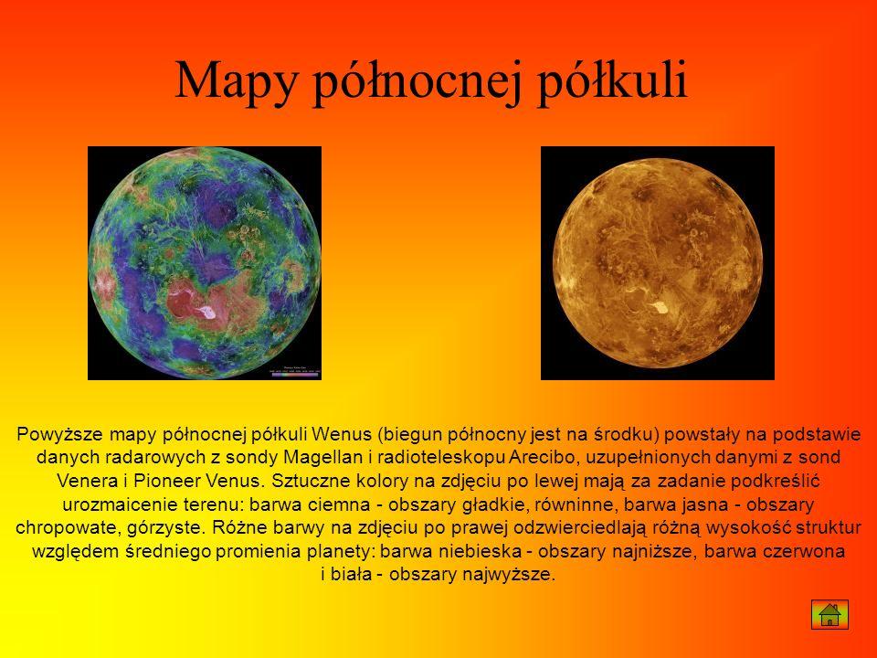 Powyższe mapy północnej półkuli Wenus (biegun północny jest na środku) powstały na podstawie danych radarowych z sondy Magellan i radioteleskopu Areci