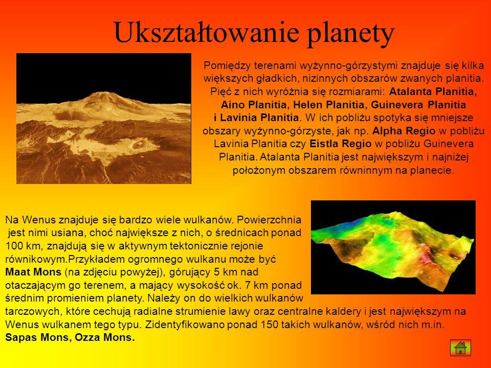 Pomiędzy terenami wyżynno-górzystymi znajduje się kilka większych gładkich, nizinnych obszarów zwanych planitia. Pięć z nich wyróżnia się rozmiarami: