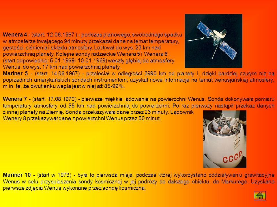 Wenera 4 - (start: 12.06.1967 ) - podczas planowego, swobodnego spadku w atmosferze trwającego 94 minuty przekazał dane na temat temperatury, gęstości