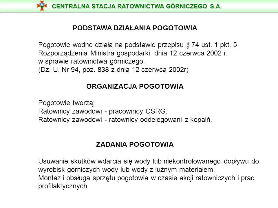 POGOTOWIE WODNE CSRG S.A. CENTRALNA STACJA RATOWNICTWA GÓRNICZEGO S.A.