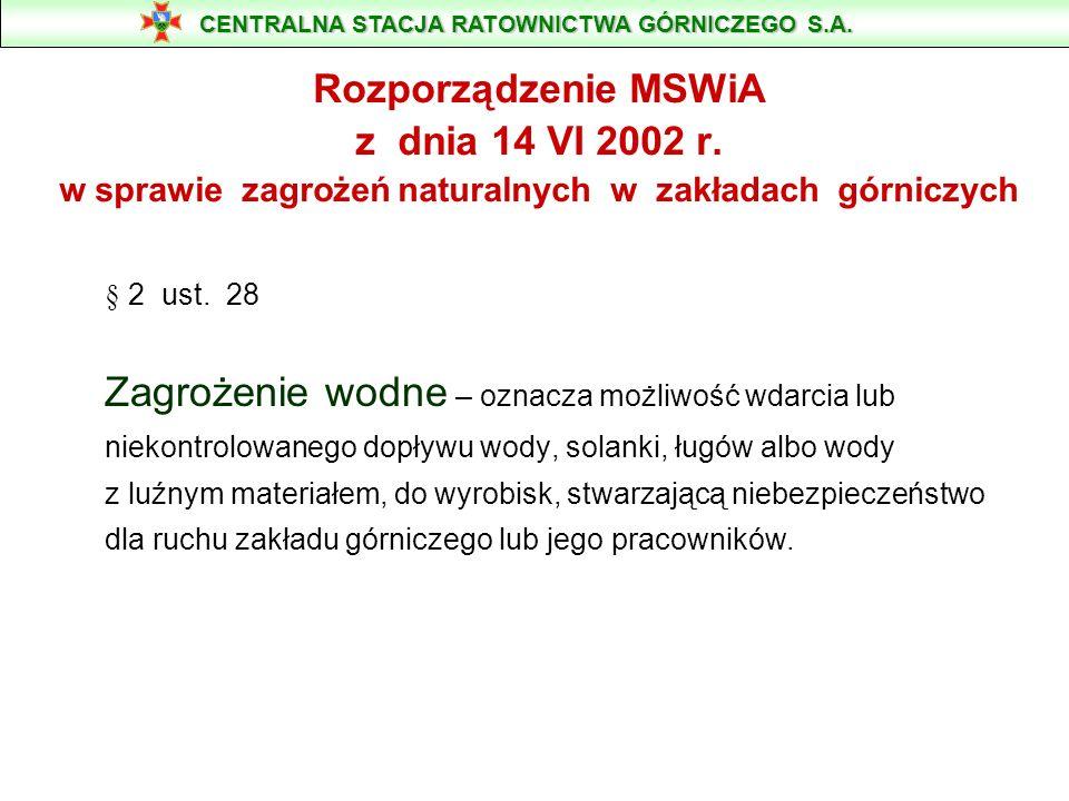 CENTRALNA STACJA RATOWNICTWA GÓRNICZEGO S.A. 41-902 Bytom, ul. Chorzowska 25, tel.: 032 282 25 25 www.csrg.bytom.pl e-mail: info@csrg.bytom.pl ZAGROŻE