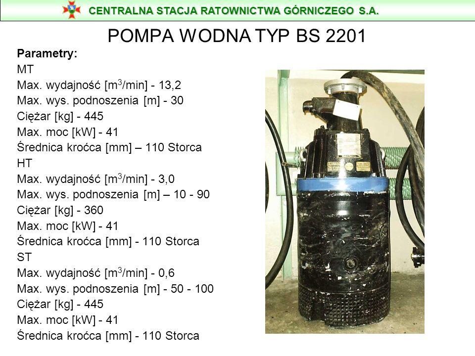 POMPA PRZENOŚNA ZATAPIALNA FLYGT TYPU BS 2151 Masa 165 kg wysokość - 745 mm Silnik 20 kW szerokość bez króćca - 505 mm Króciec - f 75 mm szerokość z k