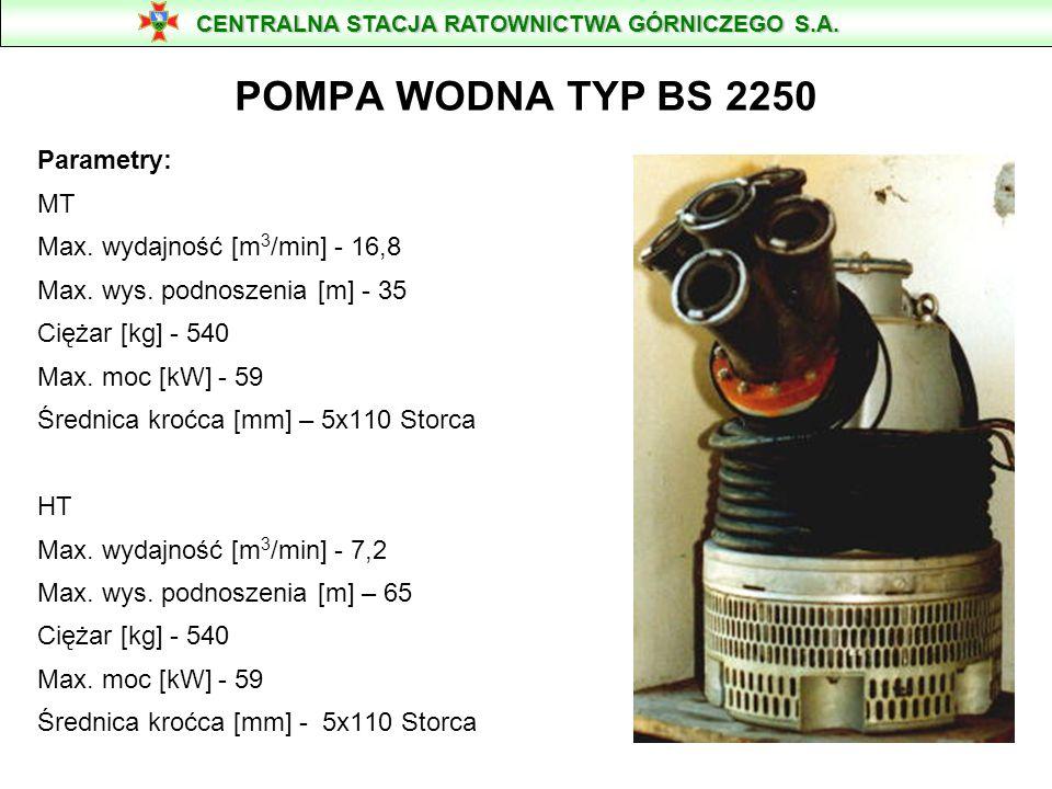 POMPA PRZENOŚNA ZATAPIALNA FLYGT TYPU BS 2201 masa 330 kg wysokość - 1 050 mm silnik 37 kW szerokość - 434 mm króciec - f 110 mm CENTRALNA STACJA RATOWNICTWA GÓRNICZEGO S.A.