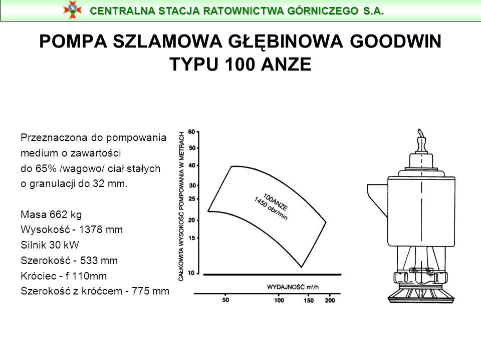 POMPA WODNA TYP GOODWIN Parametry: Max. wydajność [m 3 /min] - 3,4 Max. wys. podnoszenia [m] - 40 Ciężar [kg] - 662 Max. moc [kW] - 30 Średnica kroćca