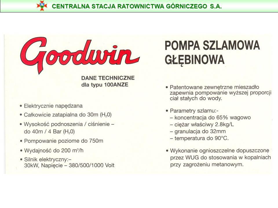 POMPA SZLAMOWA GŁĘBINOWA GOODWIN TYPU 100 ANZE Przeznaczona do pompowania medium o zawartości do 65% /wagowo/ ciał stałych o granulacji do 32 mm. Masa