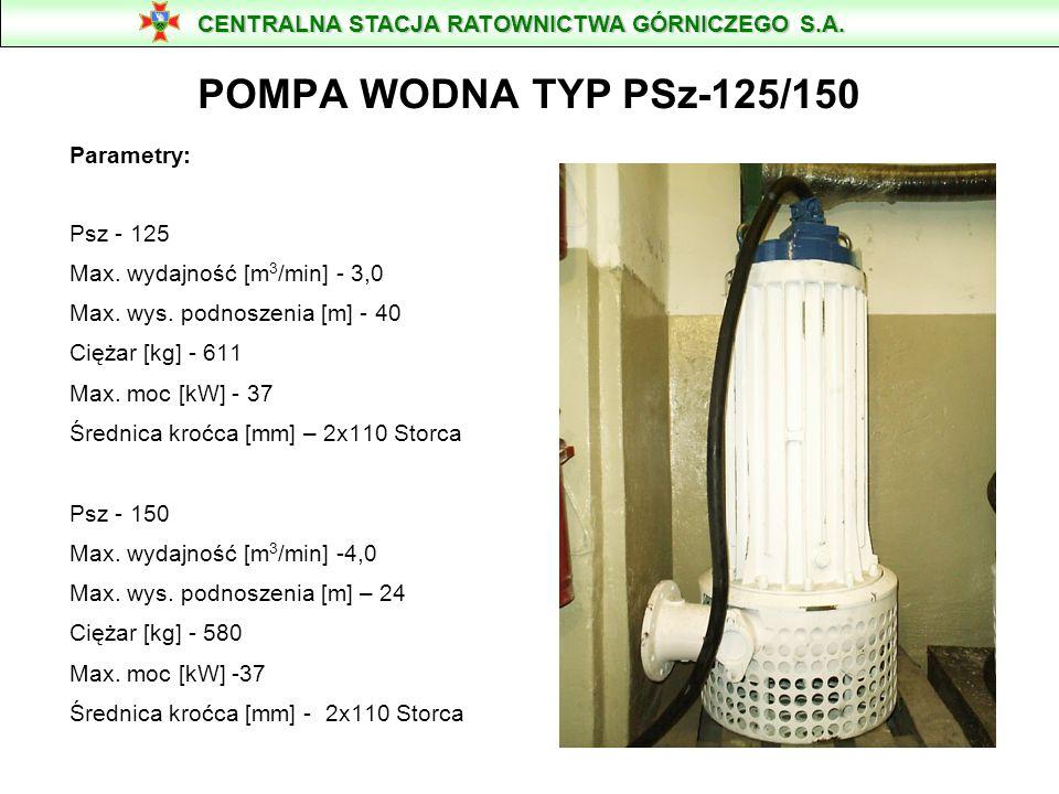 POMPA WODNA TYP PSz-65 Parametry: Max. wydajność [m 3 /min] - 1,0 Max. wys. podnoszenia [m] - 28 Ciężar [kg] - 199 Max. moc [kW] - 8 Średnica kroćca [