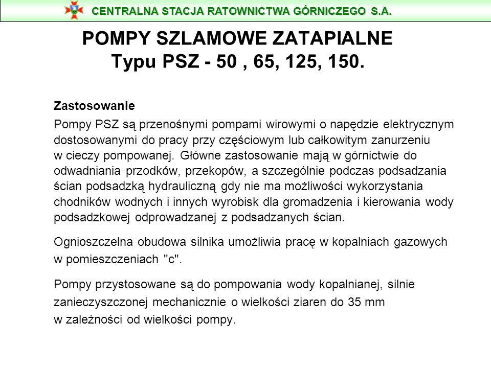 POMPA WODNA TYP PSz-125/150 Parametry: Psz - 125 Max.