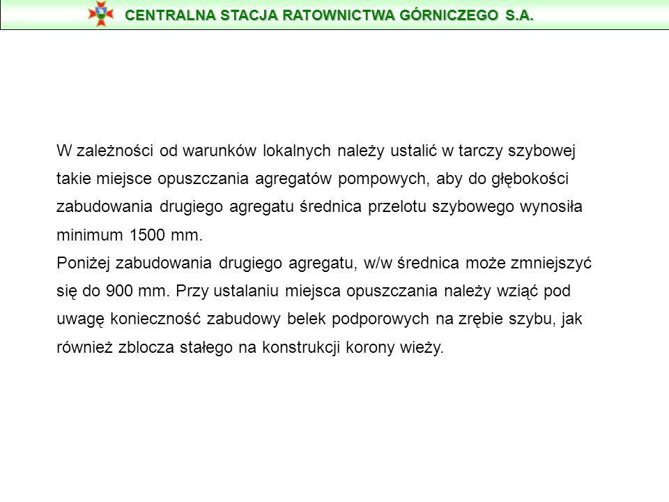 TECHNOLOGIA ODWADNIANIA SZYBU LUB KOPALNI PODCZAS ZAISTNIENIA AKCJI RATOWNICZEJ WODNEJ PRZY ZASTOSOWANIU AGREGATÓW POMPOWYCH KSB typ DPF 458/6a METODĄ KASKADOWĄ od 600 do 1100 m Pompy DPF-458/6a wyprodukowane przez firmę KSB HOMBURG - Niemcy przeznaczone są do czerpania i tłoczenia wody z dużej głębokości.