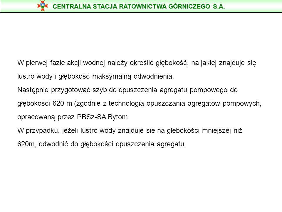 Agregaty pompowe KSB typ DPF-458/6a charakteryzują się następującymi parametrami technicznymi: wydajność2.0 - 6.0 m 3 /min wysokość tłoczenia620 - 400 m moc silnika750 kW napięcie zasilania6000 V masa5340 kg średnica max750 mm długość5943 mm prąd rozruchowy520 A prąd znamionowy100 A CENTRALNA STACJA RATOWNICTWA GÓRNICZEGO S.A.