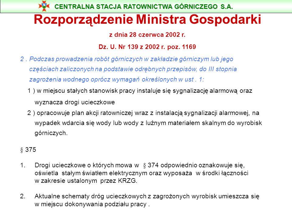 § 374 1. Podczas prowadzenia robót górniczych w zakładzie górniczym lub jego częściach zaliczonych na podstawie odrębnych przepisów, do II stopnia zag