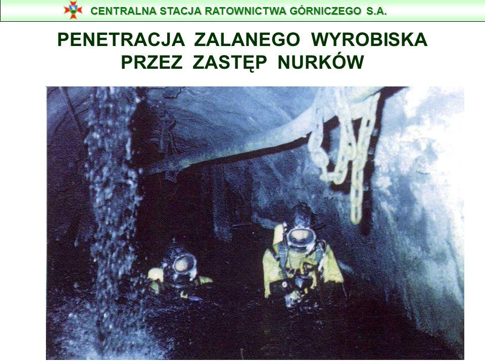 Liczebność zastępów nurkowych w akcji ratowniczej ma wynosić : - kierownik prac podwodnych, - 5-cio osobowy zastęp nurkowy, - 1 mechanik sprzętu nurkowego, - 1 lekarz, - 1 kierowca bojowego wozu nurkowego, - 1 pracownik OSRG Wodzisław CENTRALNA STACJA RATOWNICTWA GÓRNICZEGO S.A.
