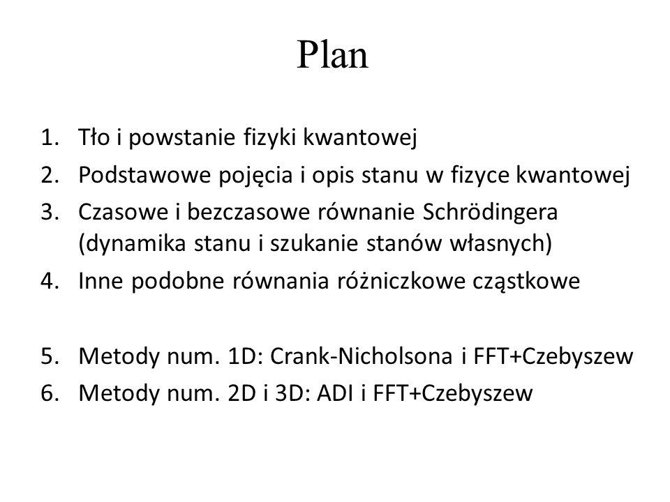 Plan 1.Tło i powstanie fizyki kwantowej 2.Podstawowe pojęcia i opis stanu w fizyce kwantowej 3.Czasowe i bezczasowe równanie Schrödingera (dynamika st