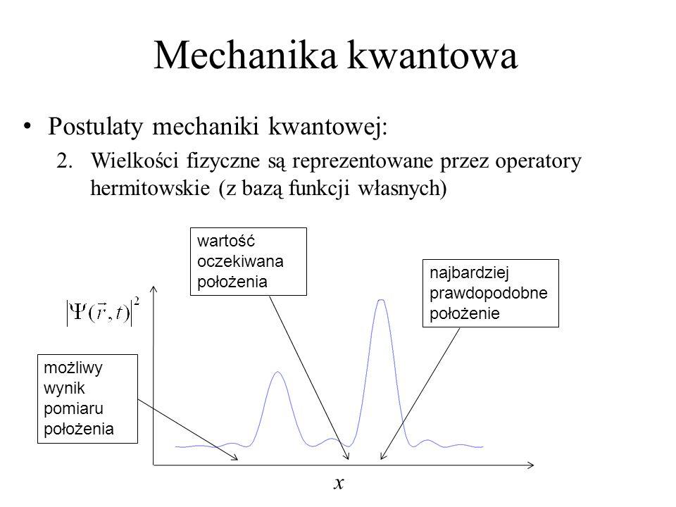 Mechanika kwantowa Postulaty mechaniki kwantowej: 2.Wielkości fizyczne są reprezentowane przez operatory hermitowskie (z bazą funkcji własnych) x najbardziej prawdopodobne położenie wartość oczekiwana położenia możliwy wynik pomiaru położenia