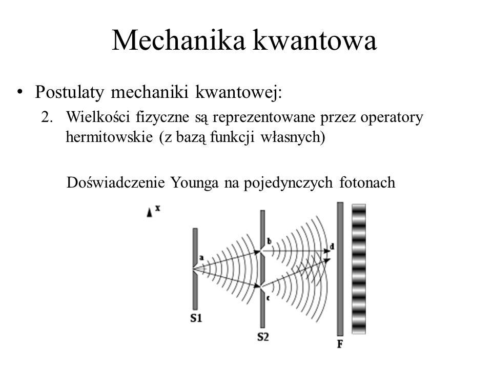 Mechanika kwantowa Postulaty mechaniki kwantowej: 2.Wielkości fizyczne są reprezentowane przez operatory hermitowskie (z bazą funkcji własnych) Doświadczenie Younga na pojedynczych fotonach