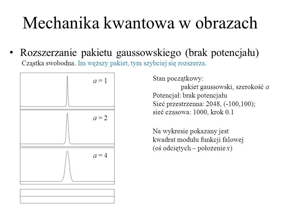 Mechanika kwantowa w obrazach Rozszerzanie pakietu gaussowskiego (brak potencjału) Cząstka swobodna. Im węższy pakiet, tym szybciej się rozszerza. Sta