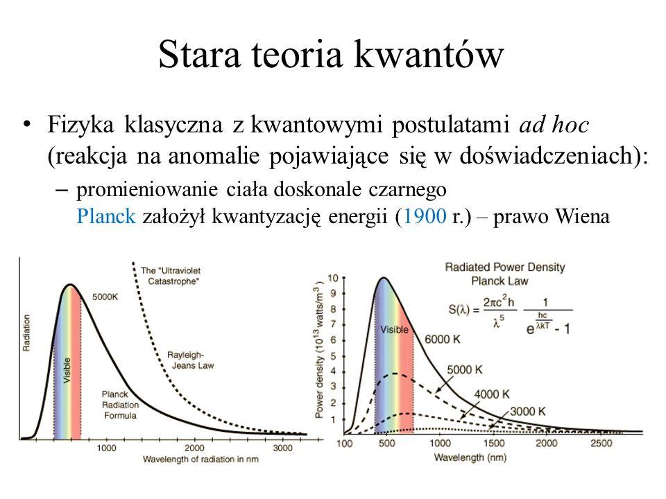 Stara teoria kwantów Fizyka klasyczna z kwantowymi postulatami ad hoc (reakcja na anomalie pojawiające się w doświadczeniach): – promieniowanie ciała doskonale czarnego Planck założył kwantyzację energii (1900 r.) – prawo Wiena