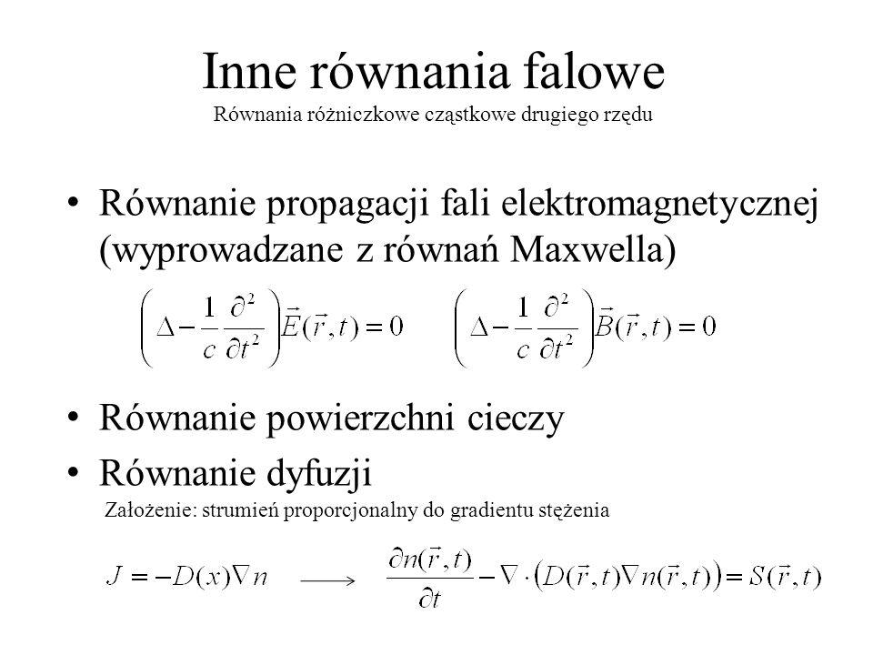 Inne równania falowe Równanie propagacji fali elektromagnetycznej (wyprowadzane z równań Maxwella) Równanie powierzchni cieczy Równanie dyfuzji Równania różniczkowe cząstkowe drugiego rzędu Założenie: strumień proporcjonalny do gradientu stężenia