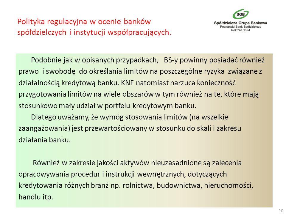 Polityka regulacyjna w ocenie banków spółdzielczych i instytucji współpracujących. Podobnie jak w opisanych przypadkach, BS-y powinny posiadać również