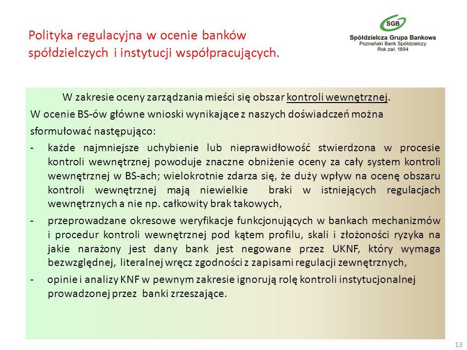 Polityka regulacyjna w ocenie banków spółdzielczych i instytucji współpracujących. W zakresie oceny zarządzania mieści się obszar kontroli wewnętrznej