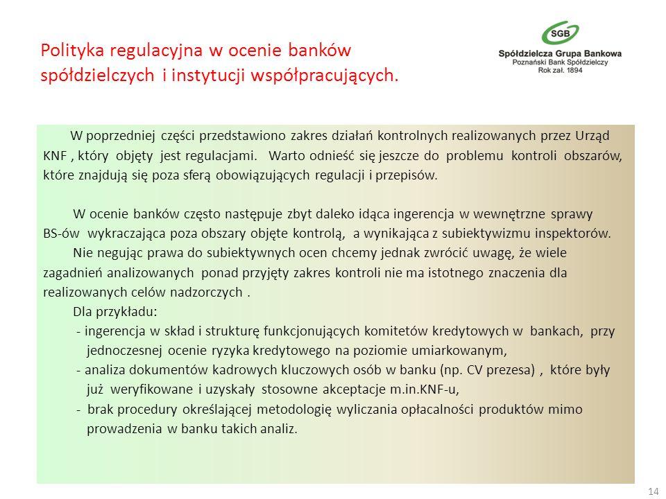 Polityka regulacyjna w ocenie banków spółdzielczych i instytucji współpracujących. W poprzedniej części przedstawiono zakres działań kontrolnych reali