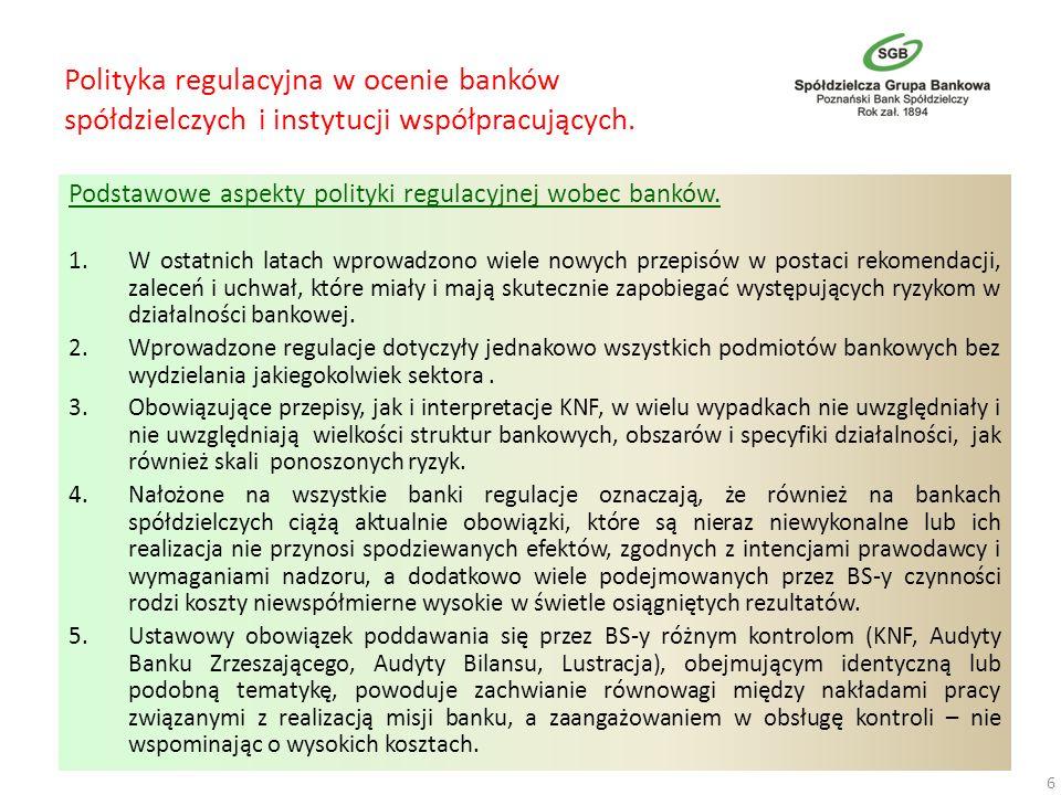 Polityka regulacyjna w ocenie banków spółdzielczych i instytucji współpracujących. Podstawowe aspekty polityki regulacyjnej wobec banków. 1.W ostatnic