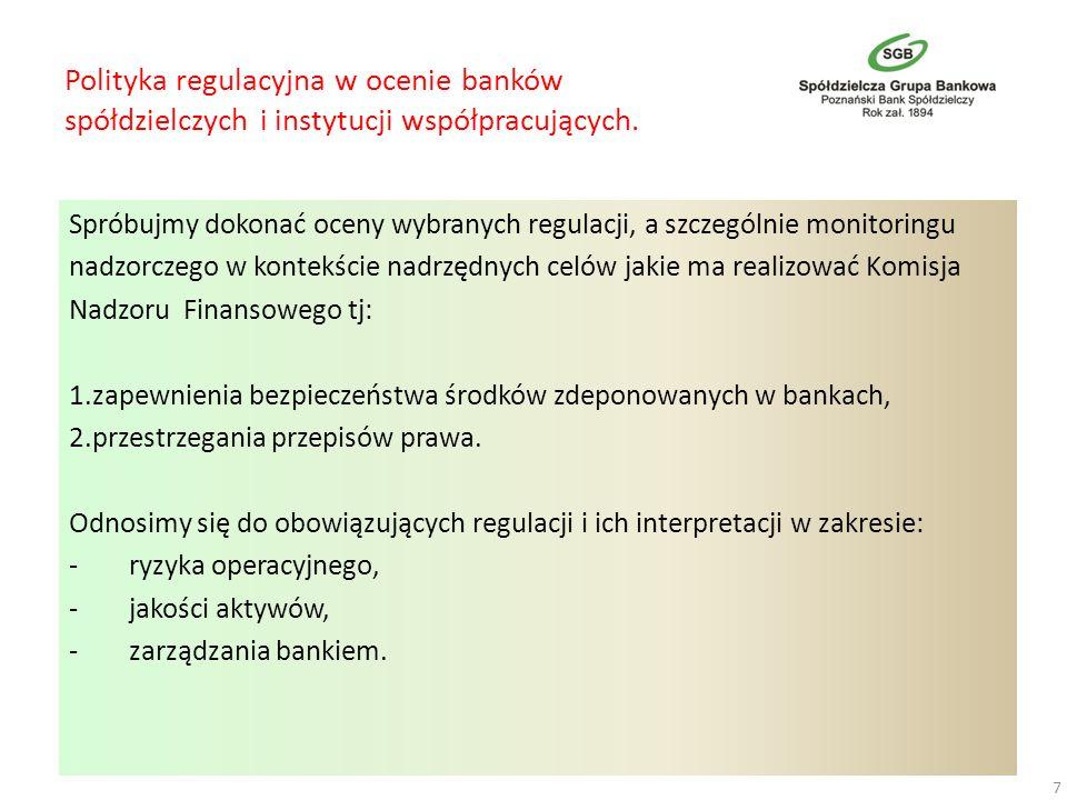 Polityka regulacyjna w ocenie banków spółdzielczych i instytucji współpracujących. Spróbujmy dokonać oceny wybranych regulacji, a szczególnie monitori